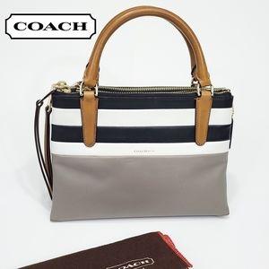 Coach Mini Borough Bag Bar Stripe Leather Satchel